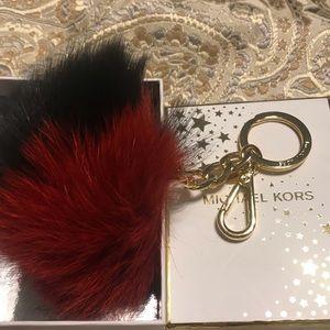 Michael Kors XL BiColor Pom Pom Keychain